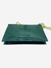 Load image into Gallery viewer, Soho green patent mock croc clutch crossbody bag