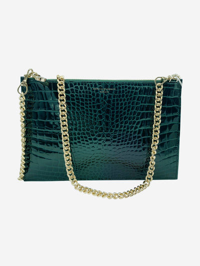Soho green patent mock croc clutch crossbody bag