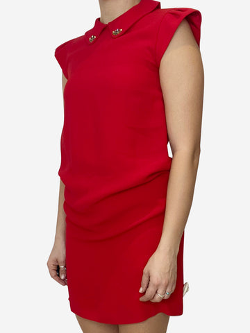 Red cap sleeve mini dress with jewel accent collar- size UK 10