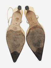 Load image into Gallery viewer, Beige & black pointed toe slingback heels - size EU 37