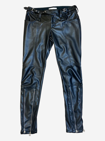 Black faux leather trousers with zipper detailing - size XS