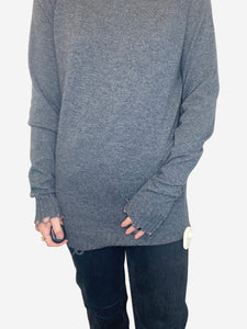 Grey long sleeve frayed fine knit sweater - size S