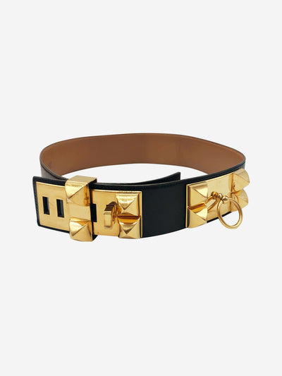 Collier De Chein black belt with gold studs
