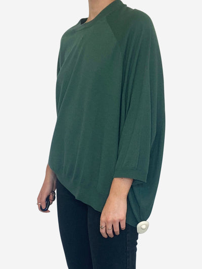 Green asymmetric short sleeved fine knit sweater - size S
