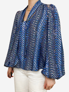 Kate blue wave sequin silk blouse - size M