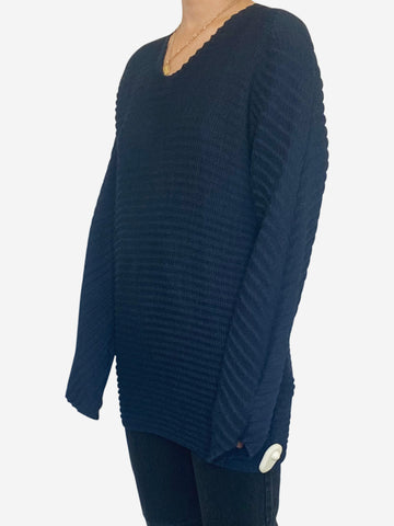 Navy crinkle / pleated fabric long sleeve top  - size M