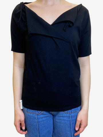 Black crossover front short sleeve shirt - size M