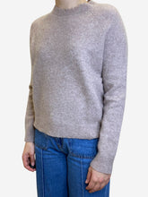 Load image into Gallery viewer, Taupe distressed neckline jumper - size XS