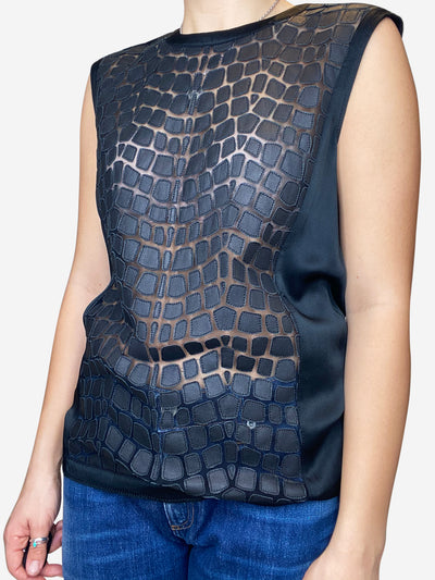 Black sleeveless blouse with leather and mesh insert- size S