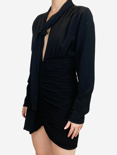 Black ruched pussy bow long sleeve mini dress - size FR 34