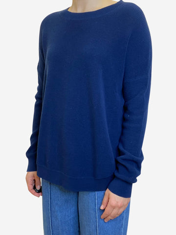 Long sleeve navy crew neck sweater - size UK 10