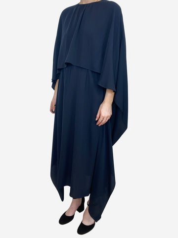 Navy chiffon cape maxi dress - size IT 42