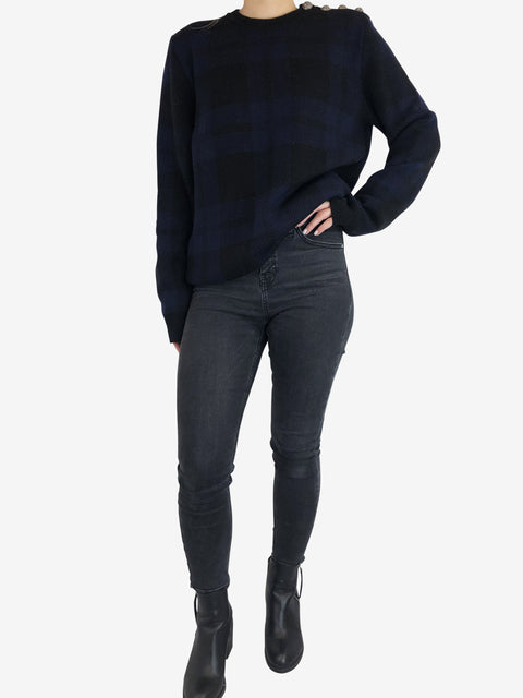 Balmain Navy And Black Check Jumper Size L RRP £600 Balmain - Timpanys