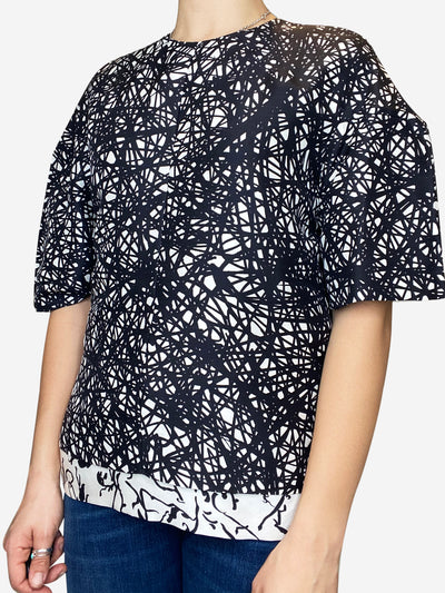 Black & white silk printed boxy top - size FR 38