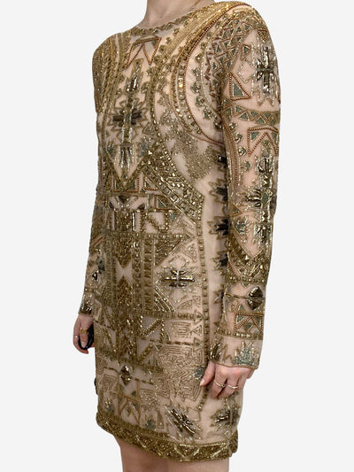 Nude & Gold long sleeve beaded knee length shift dress - size 8