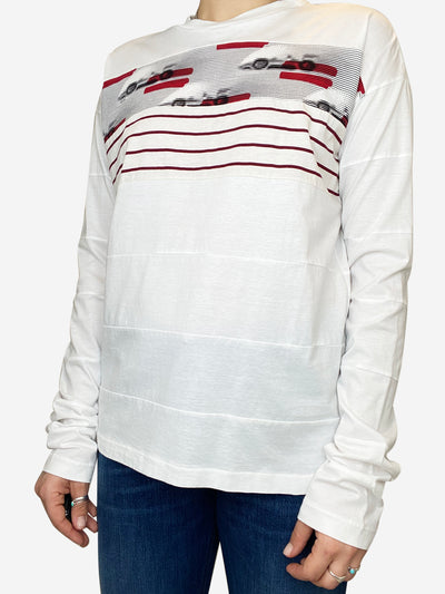 White panelled long sleeve t-shirt with red and black print - size M