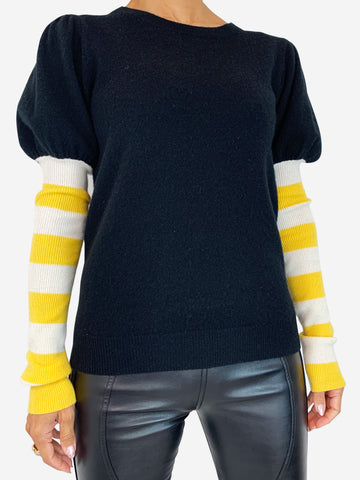 Madeleine Thompson black and yellow puff shoulder jumper - size 8 - RRP £350