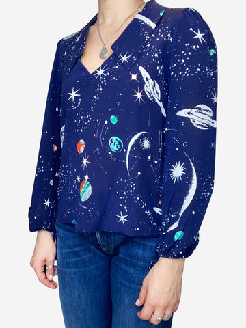 Navy galaxy print blouse with collar - size S