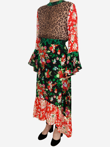 Chrissy floral and leopard midi dress - size M