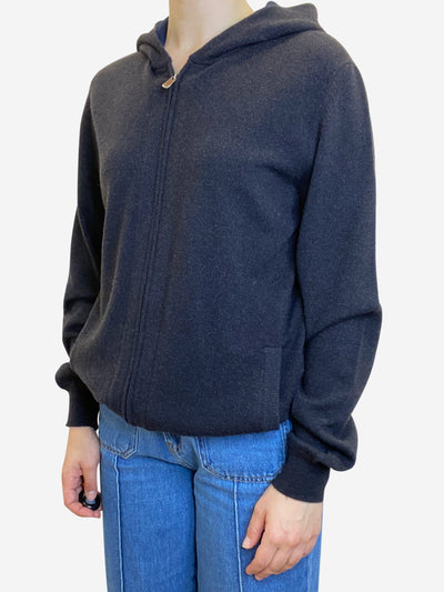 Dark brown and navy cashmere full zip hoodie - size S