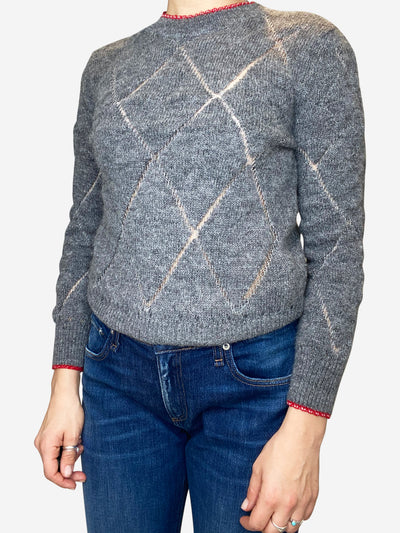 Grey wool diamond sweater - FR 36