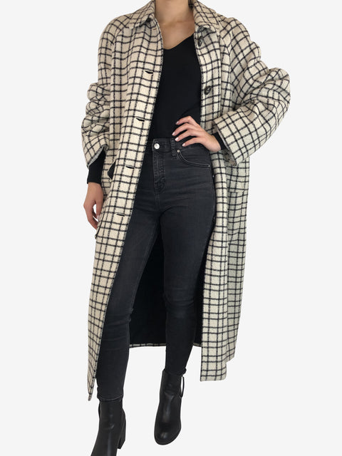 Essential Antwerp White And Black Check Long Coat Size 14 RRP £440 Essential Antwerp - Timpanys