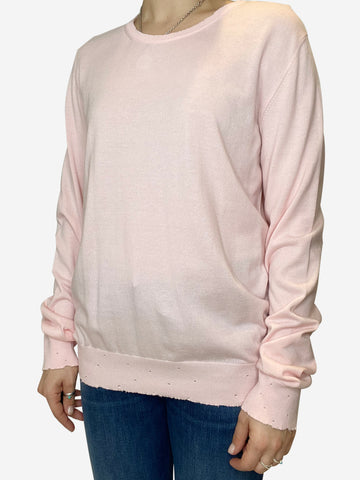 Pink pale pink long sleeve distressed sweater  - size S