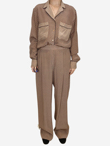 Stella McCartney beige and burgundy silk trousers and blouse  - size 12