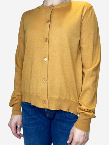 Mustard yellow fine knit oversized cardigan- size IT 42