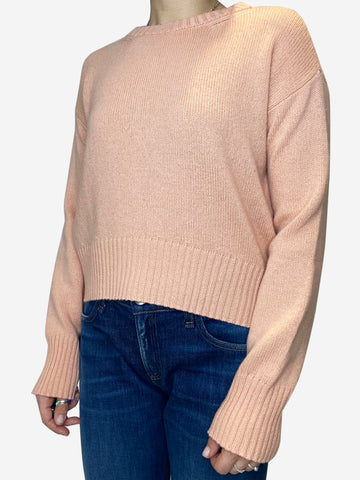 Peach cropped boxy fit cashmere sweater- size S
