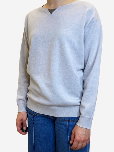 Taupe cashmere sweater with bead accent - size M