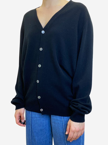 Black button through cardigan - size M
