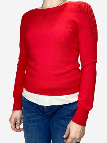 Red fitted wool blend jumper with ribbed inserts- size XS
