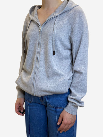 Grey full zip cashmere hoodie - size XS