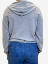 Load image into Gallery viewer, Grey full zip cashmere hoodie - size XS