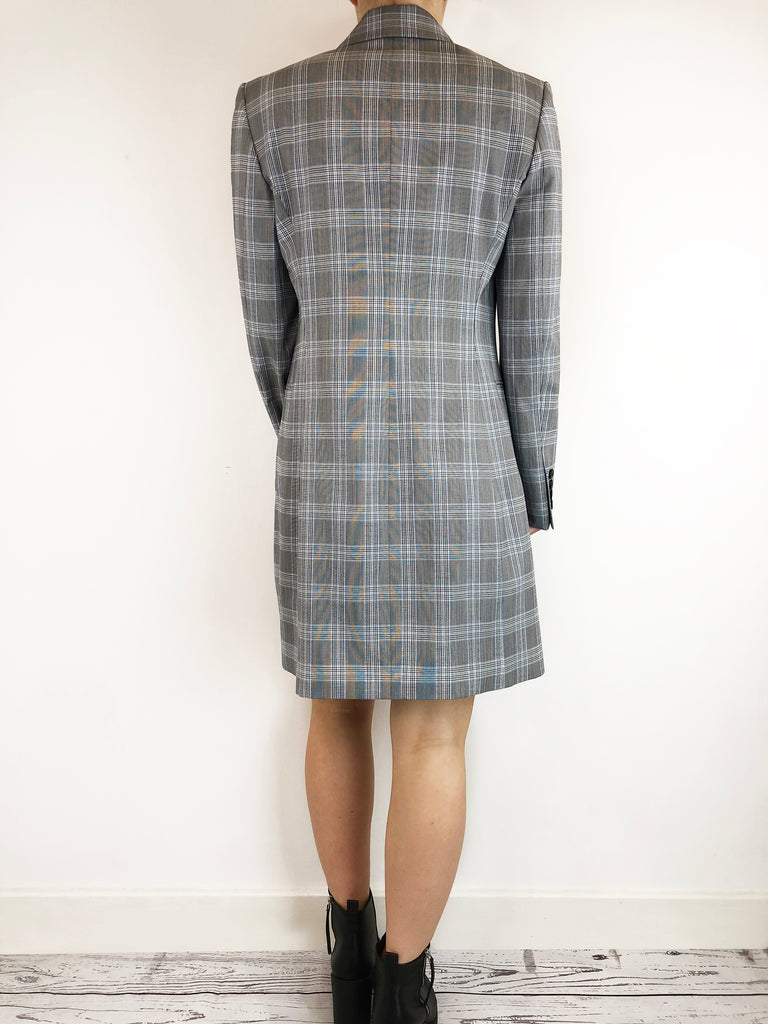Theory Grey And Blue Check Blazer Dress Size 10 RRP £473