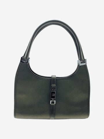 Green small satin top handle shoulder bag