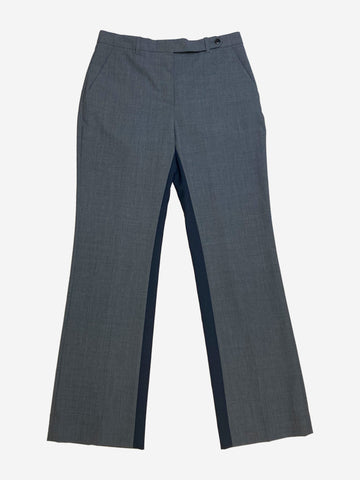 Grey and navy straight leg trousers - size UK 10