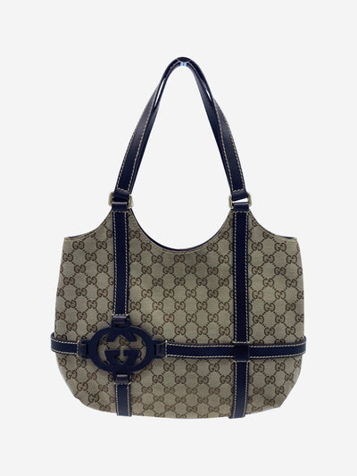 Beige GG monogram canvas shoulder bag