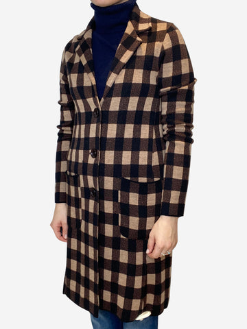 Black, brown and beige check jacket - size UK 10