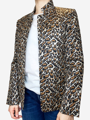 Animal print boxy fit blazer - size UK 12