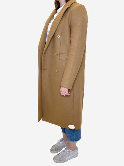 Camel button through coat - size L