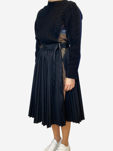 Panelled dress with knit, mesh and pleating  - size S