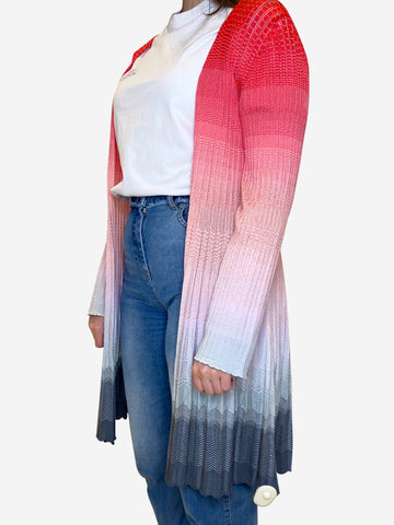 Pink and grey ombre longline cardigan - size IT 48