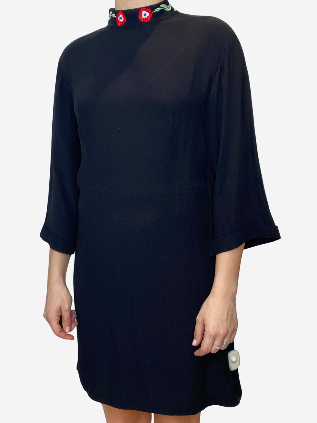 Black mini dress with embroidered collar - size M