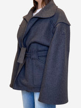 Load image into Gallery viewer, Grey Belted short coat - size 14