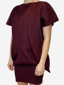 Pleats Please Burgundy pleated tunic - size M