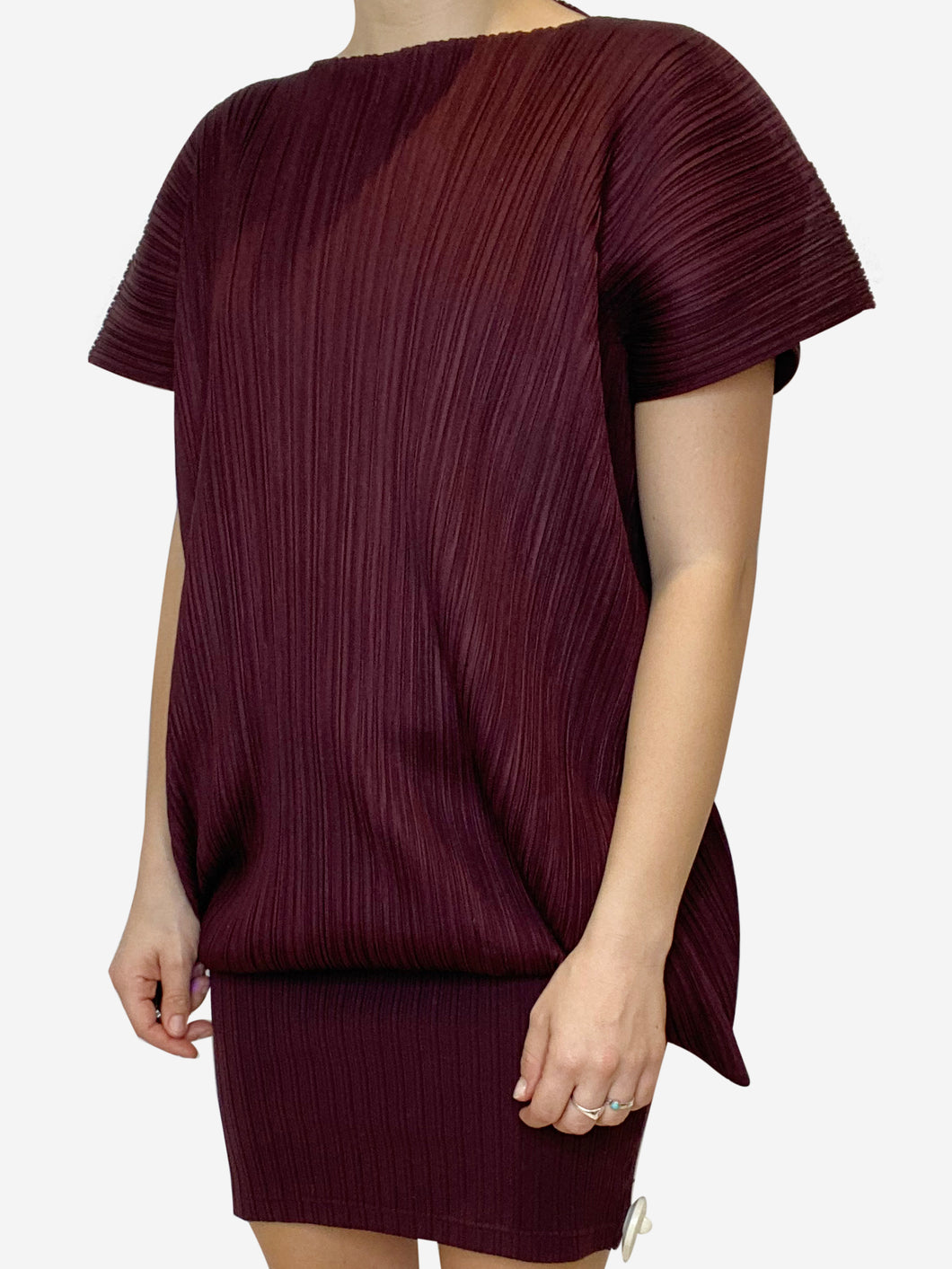 Burgundy pleated tunic - size M