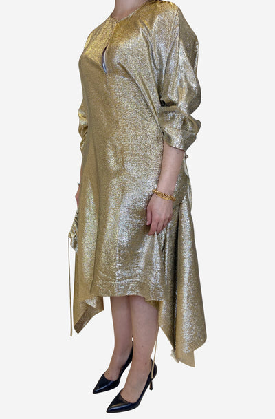Gali gold gathered lurex dress - size XL