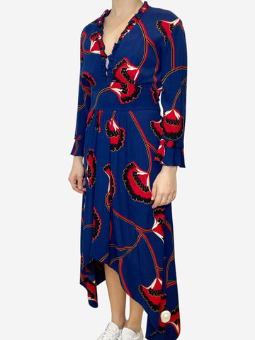 Blue and red floral midi dress with asymmetric hem- size UK 10